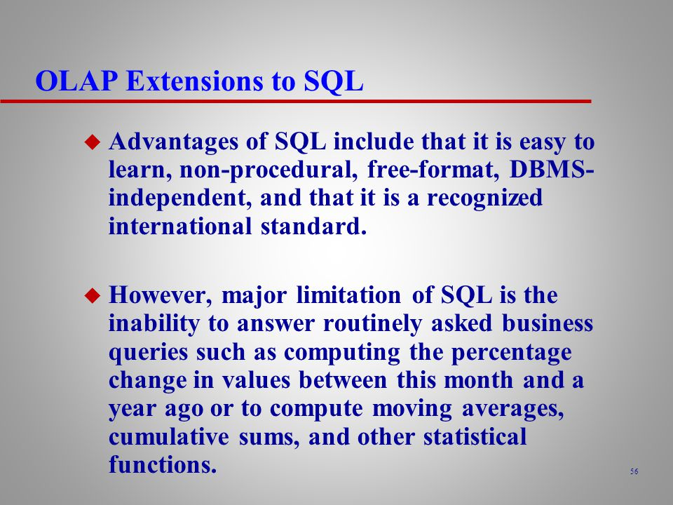 OLAP Extensions to SQL