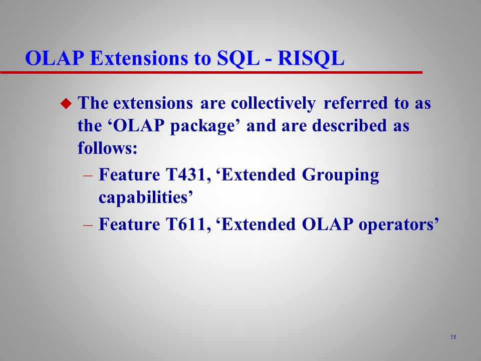 OLAP Extensions to SQL - RISQL