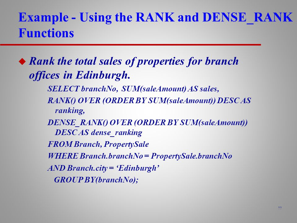 Example - Using the RANK and DENSE_RANK Functions