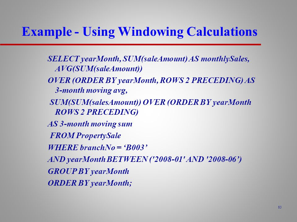 Example - Using Windowing Calculations