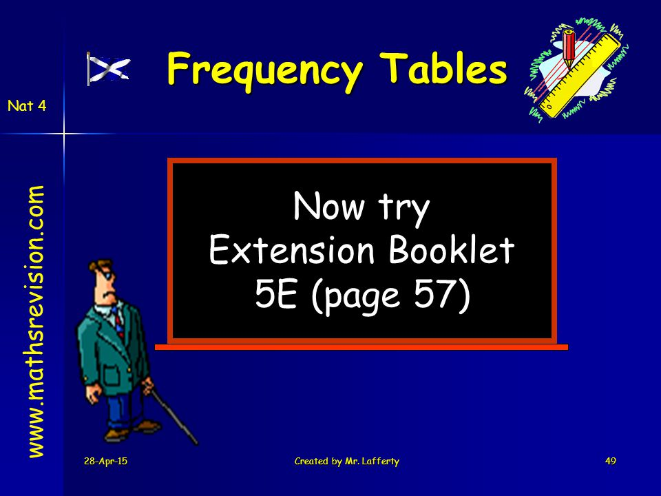 Frequency Tables Now try Extension Booklet 5E (page 57)