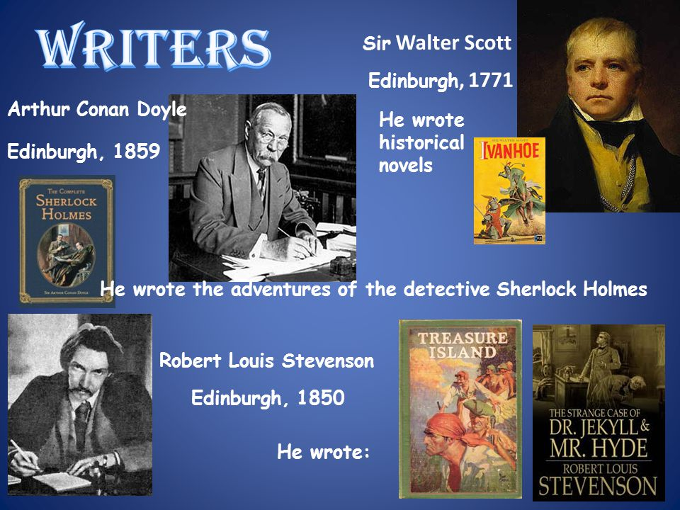 WRITERS He wrote the adventures of the detective Sherlock Holmes