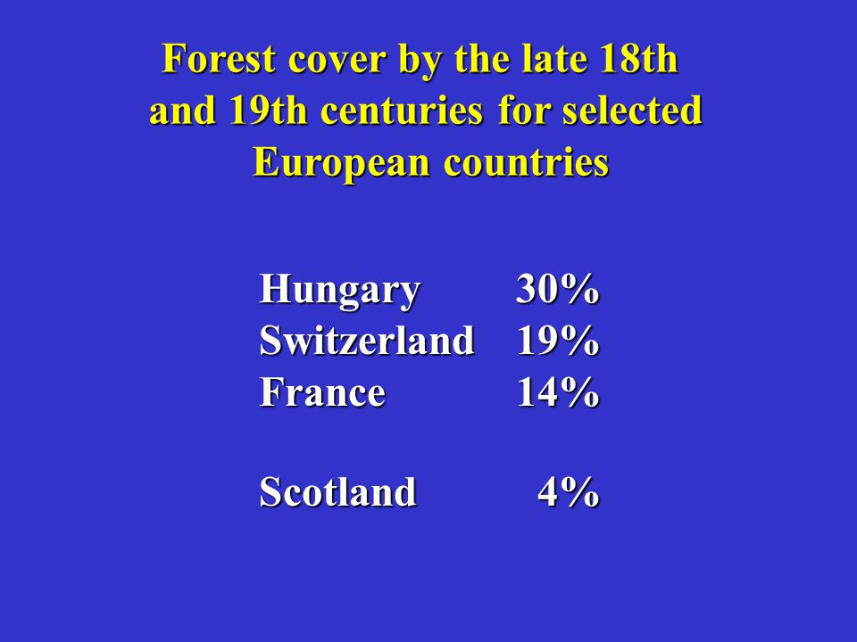 Forest cover by the late 18th and 19th centuries for selected