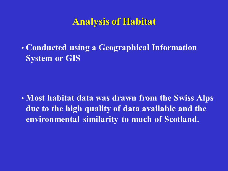 Analysis of Habitat System or GIS