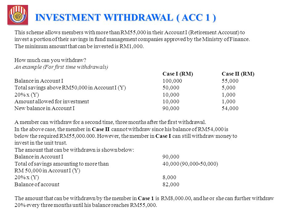 INVESTMENT WITHDRAWAL ( ACC 1 )