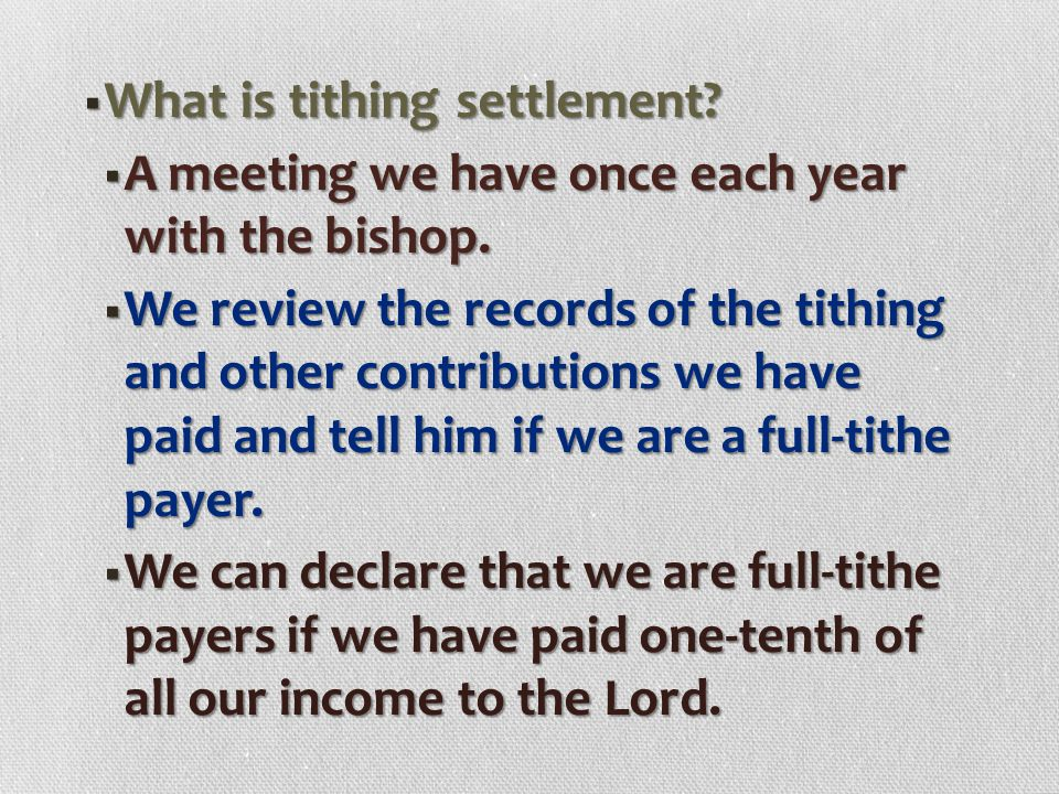 What is tithing settlement