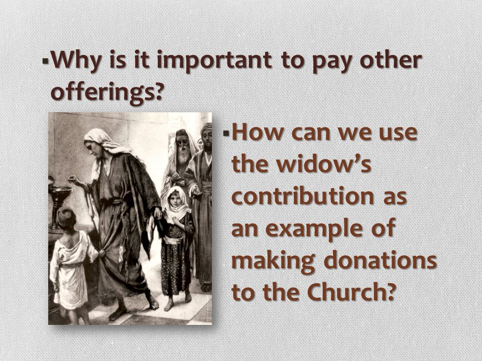 Why is it important to pay other offerings