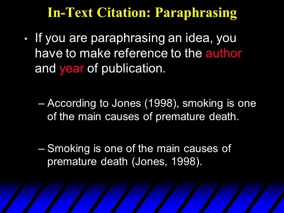In-Text Citation: Paraphrasing