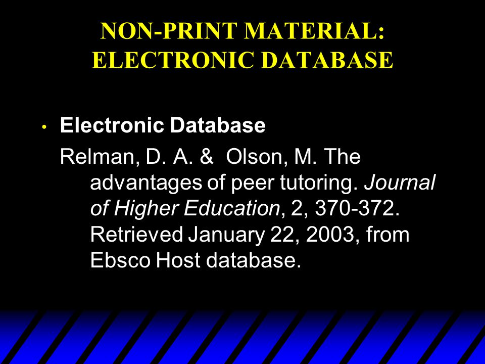NON-PRINT MATERIAL: ELECTRONIC DATABASE