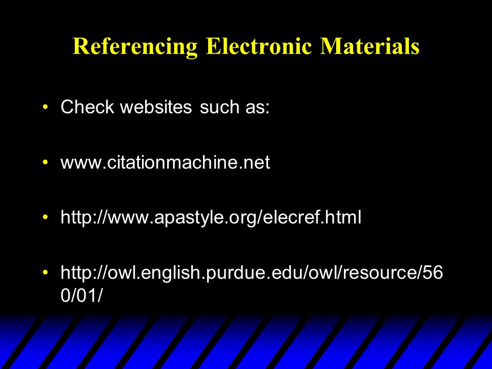 Referencing Electronic Materials