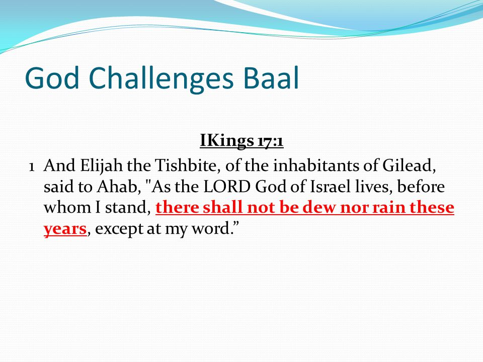 God Challenges Baal