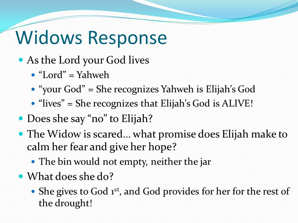 Widows Response As the Lord your God lives