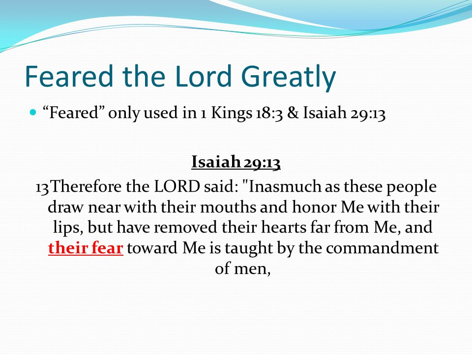 Feared the Lord Greatly