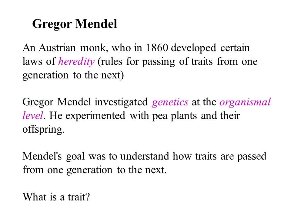Gregor Mendel An Austrian monk, who in 1860 developed certain laws of heredity (rules for passing of traits from one generation to the next)