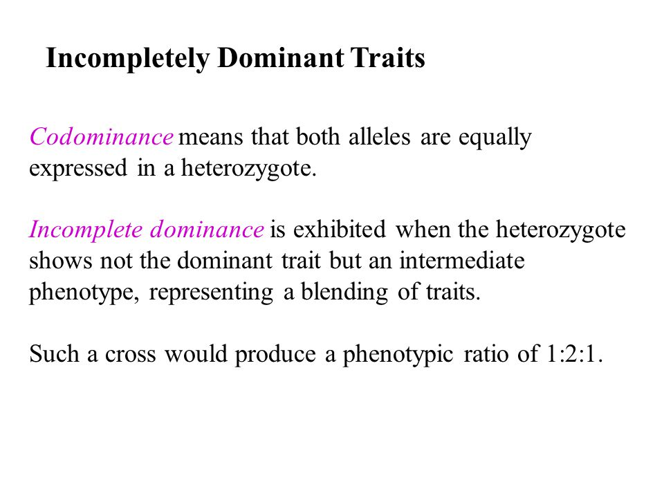 Incompletely Dominant Traits