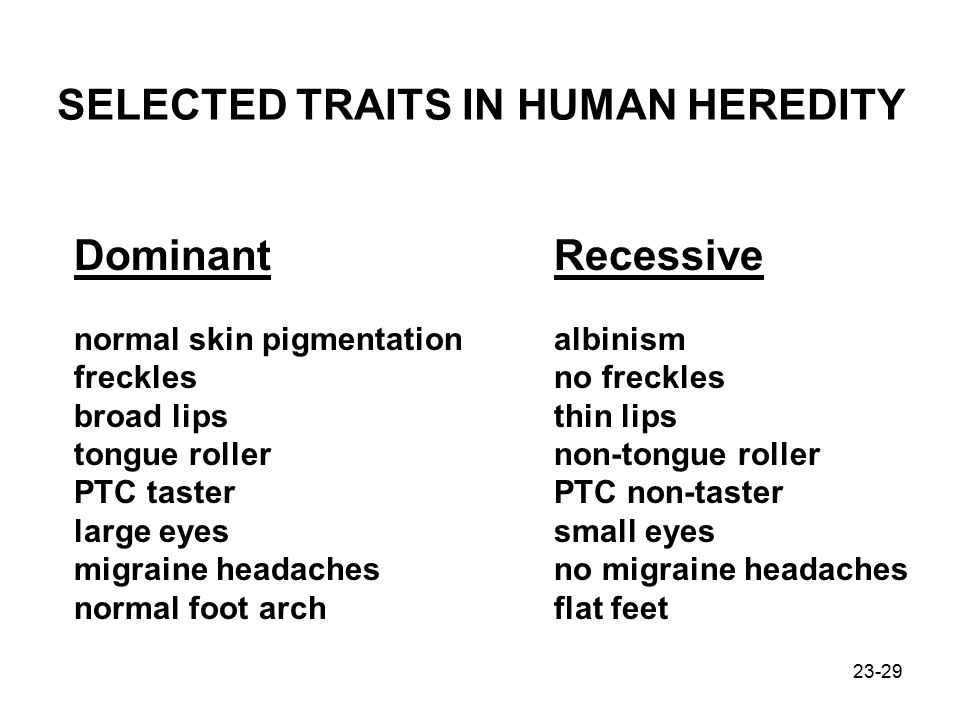 SELECTED TRAITS IN HUMAN HEREDITY