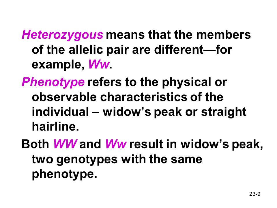 Heterozygous means that the members of the allelic pair are different—for example, Ww.