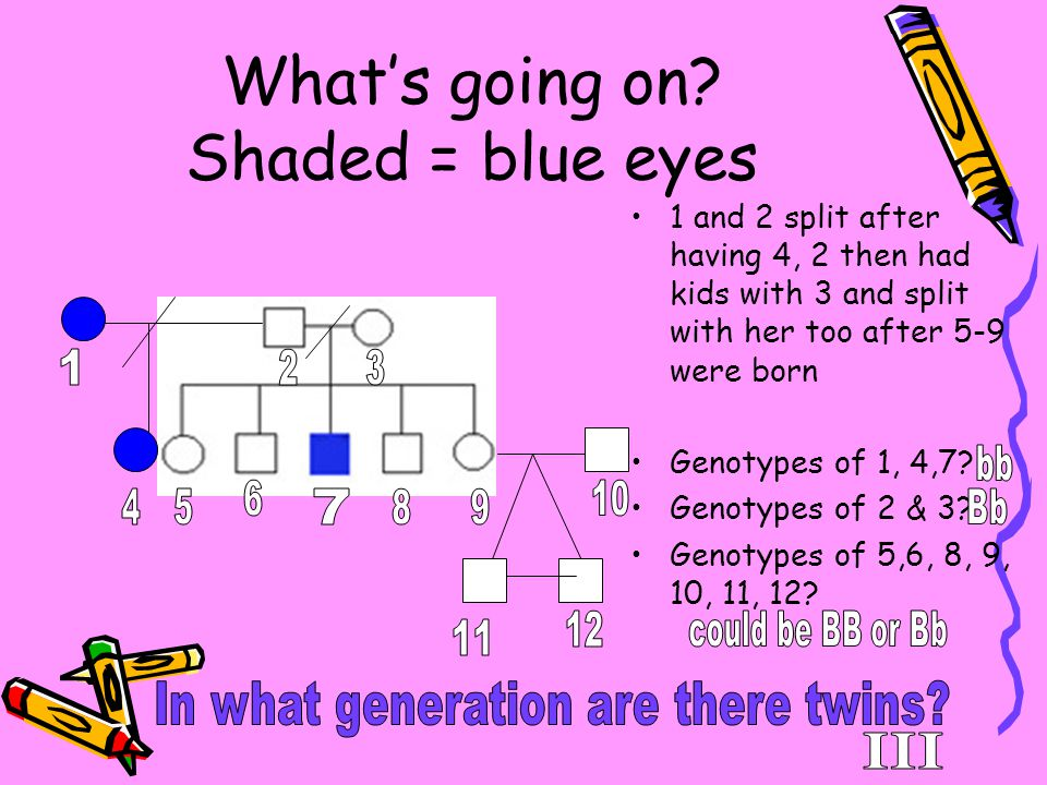 What's going on Shaded = blue eyes