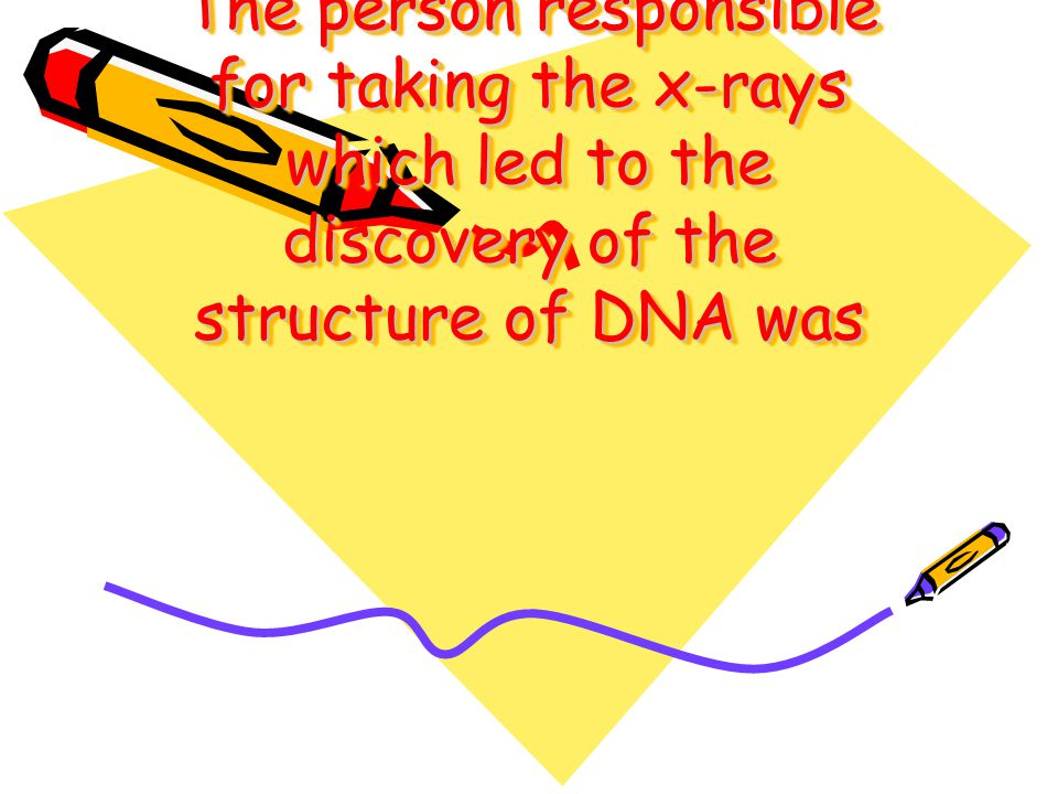 The person responsible for taking the x-rays which led to the discovery of the structure of DNA was