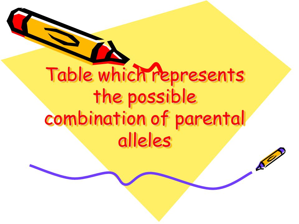 Table which represents the possible combination of parental alleles