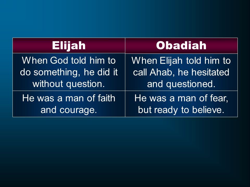 Elijah Obadiah. When God told him to do something, he did it without question. When Elijah told him to call Ahab, he hesitated and questioned.
