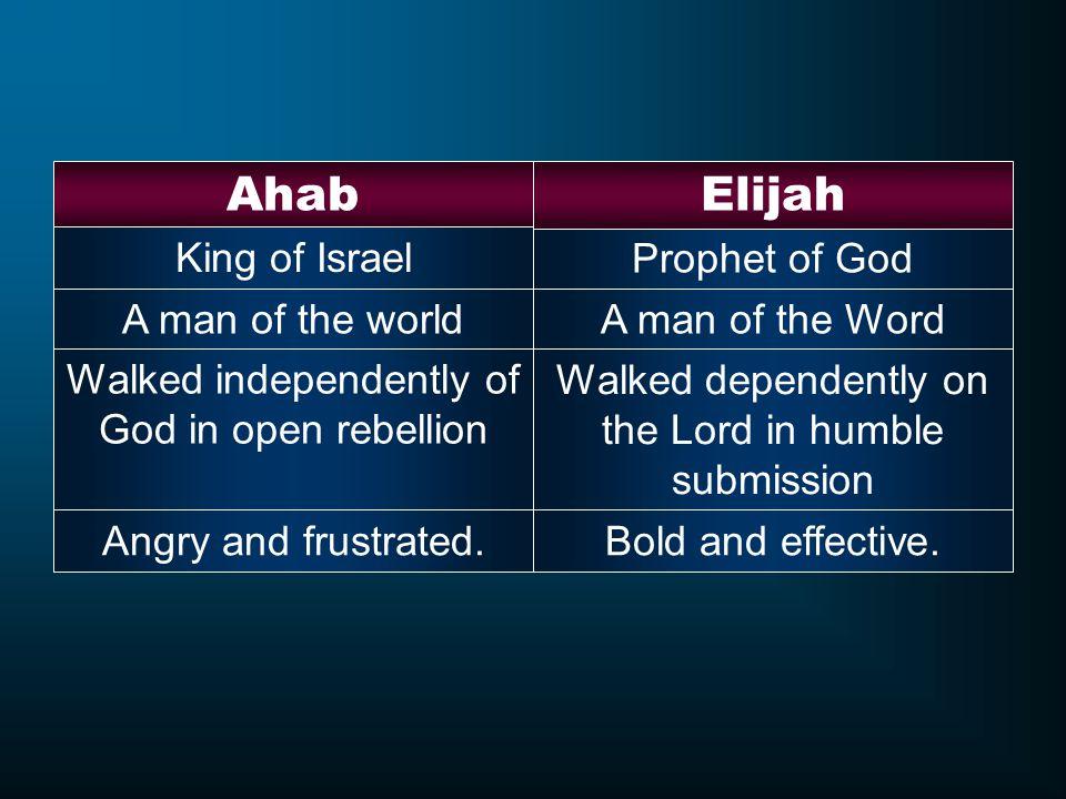 Ahab Elijah King of Israel Prophet of God A man of the world