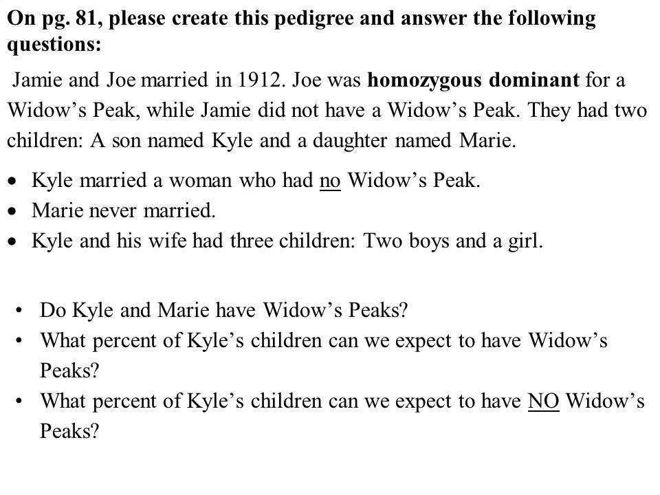 On pg. 81, please create this pedigree and answer the following questions: