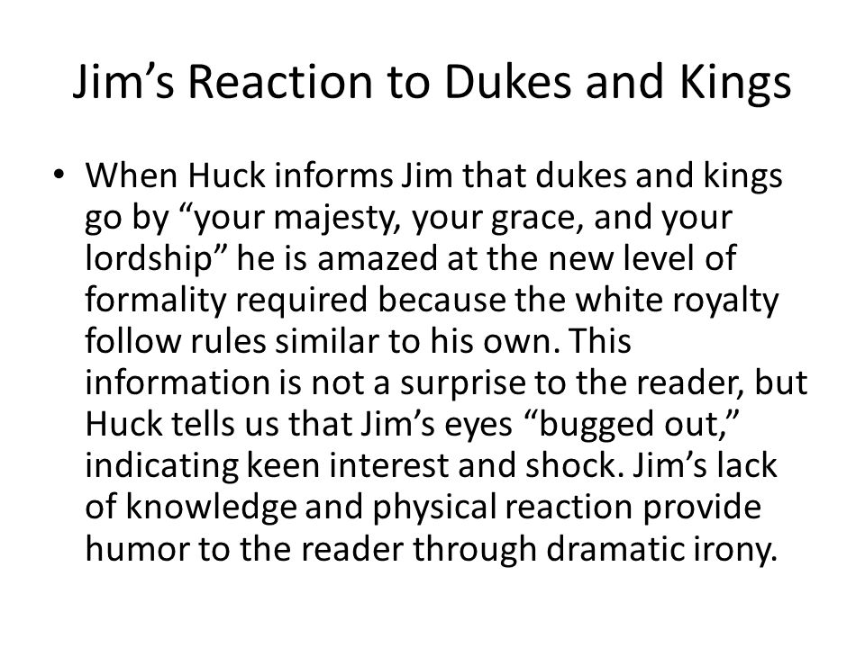 Jim's Reaction to Dukes and Kings
