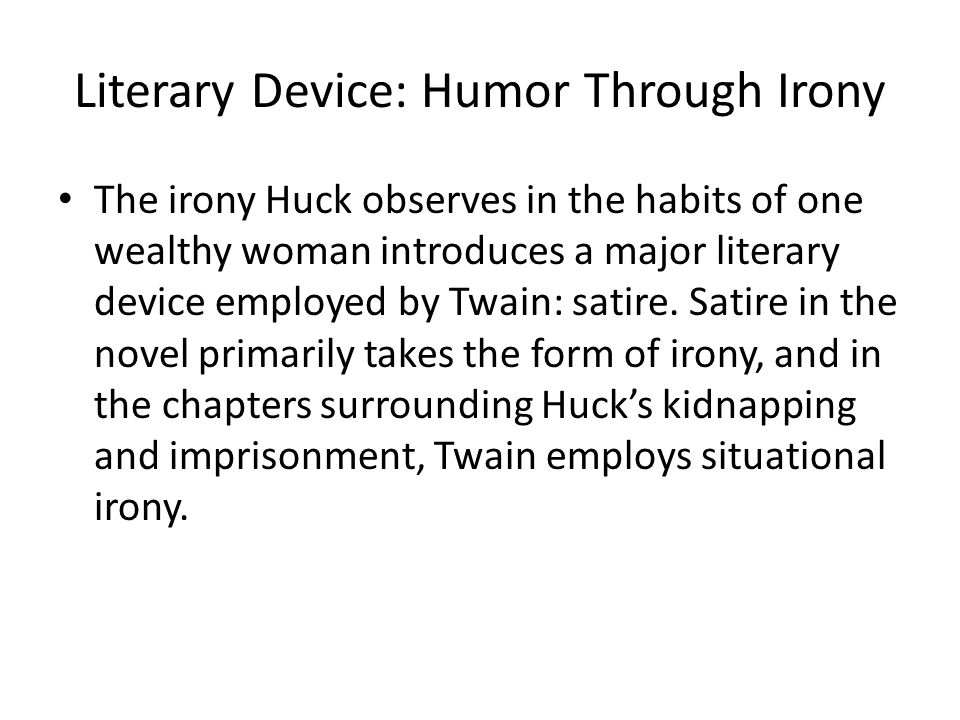 Literary Device: Humor Through Irony