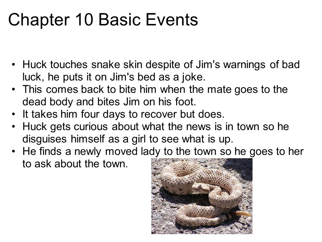 Chapter 10 Basic Events Huck touches snake skin despite of Jim s warnings of bad luck, he puts it on Jim s bed as a joke.