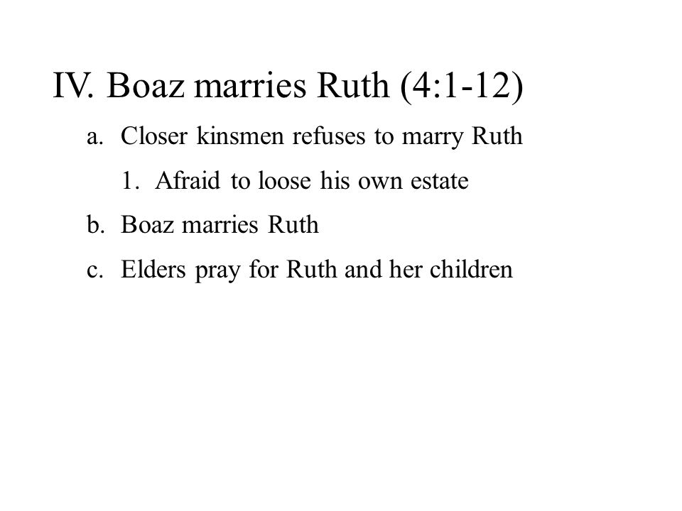 IV. Boaz marries Ruth (4:1-12)
