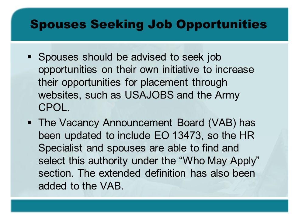 Spouses Seeking Job Opportunities