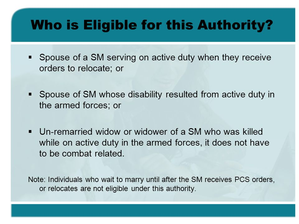 Who is Eligible for this Authority