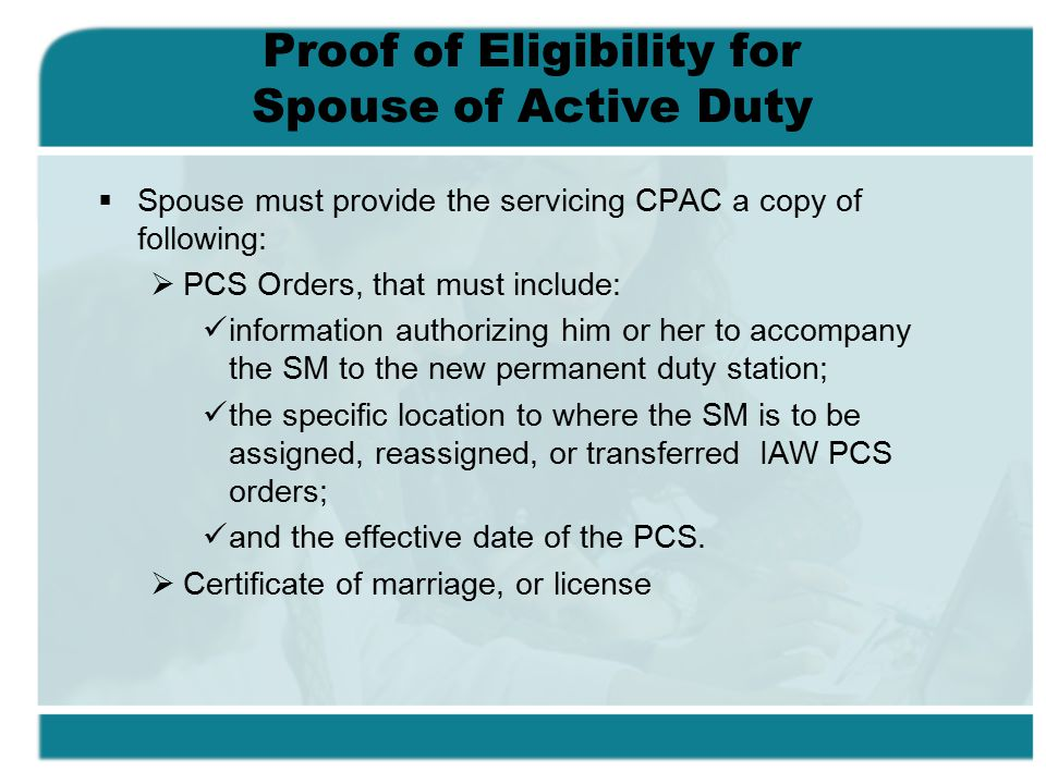 Proof of Eligibility for Spouse of Active Duty