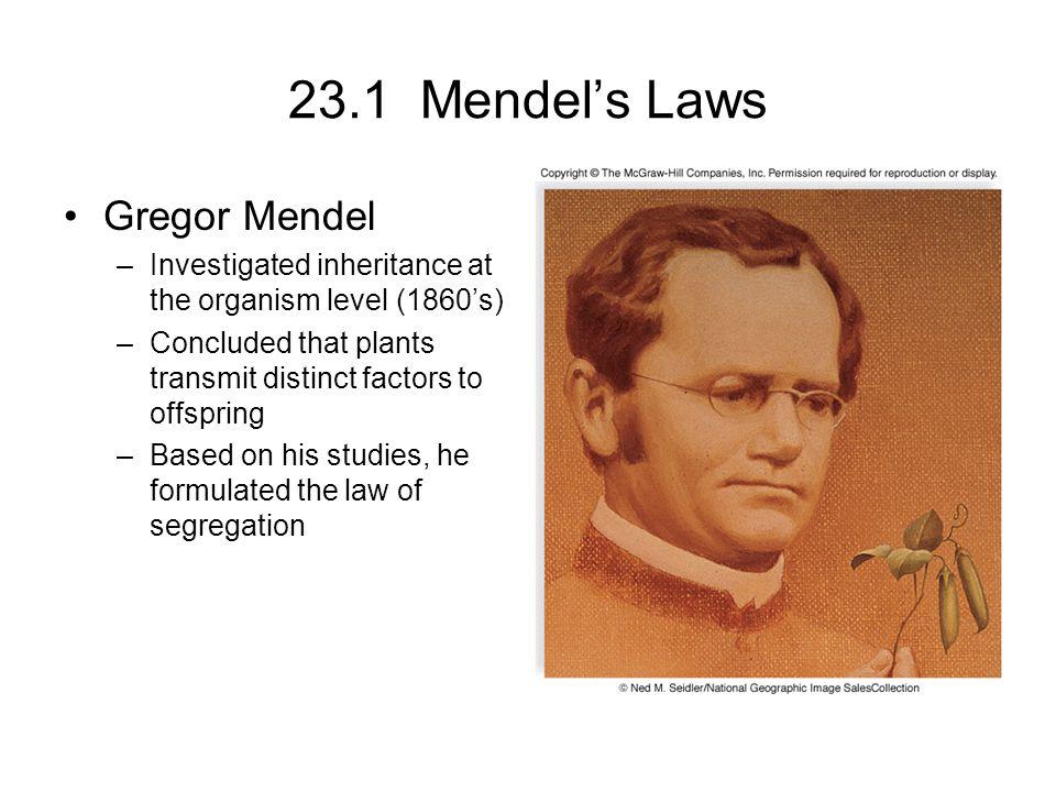 23.1 Mendel's Laws Gregor Mendel
