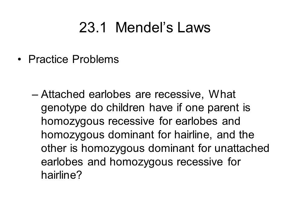 23.1 Mendel's Laws Practice Problems