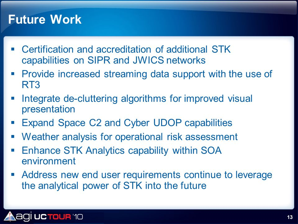 Future Work Certification and accreditation of additional STK capabilities on SIPR and JWICS networks.