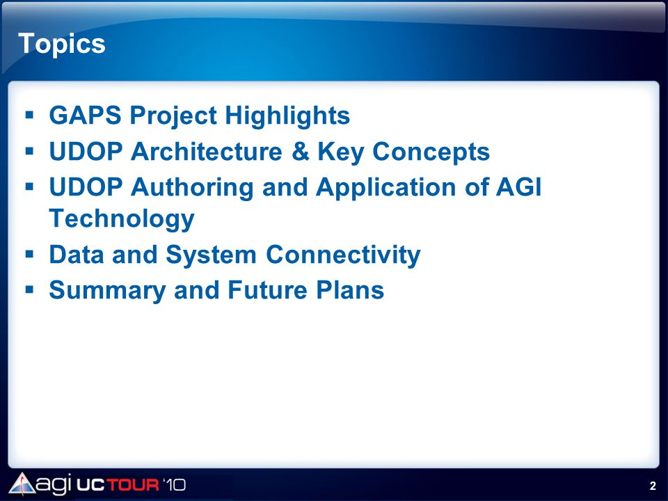 Topics GAPS Project Highlights UDOP Architecture & Key Concepts