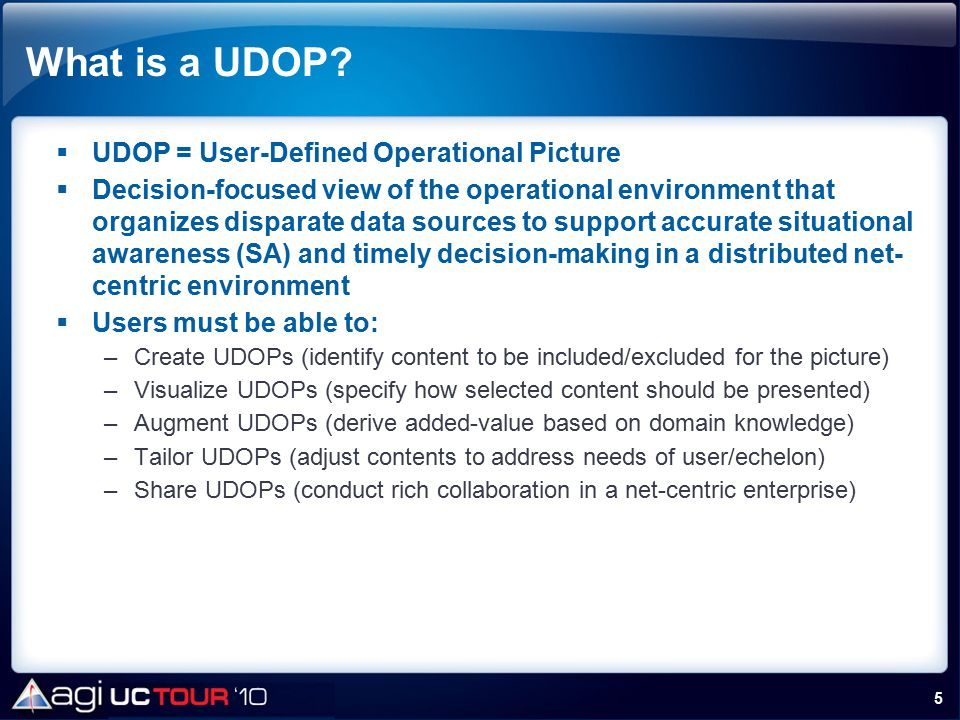 What is a UDOP UDOP = User-Defined Operational Picture