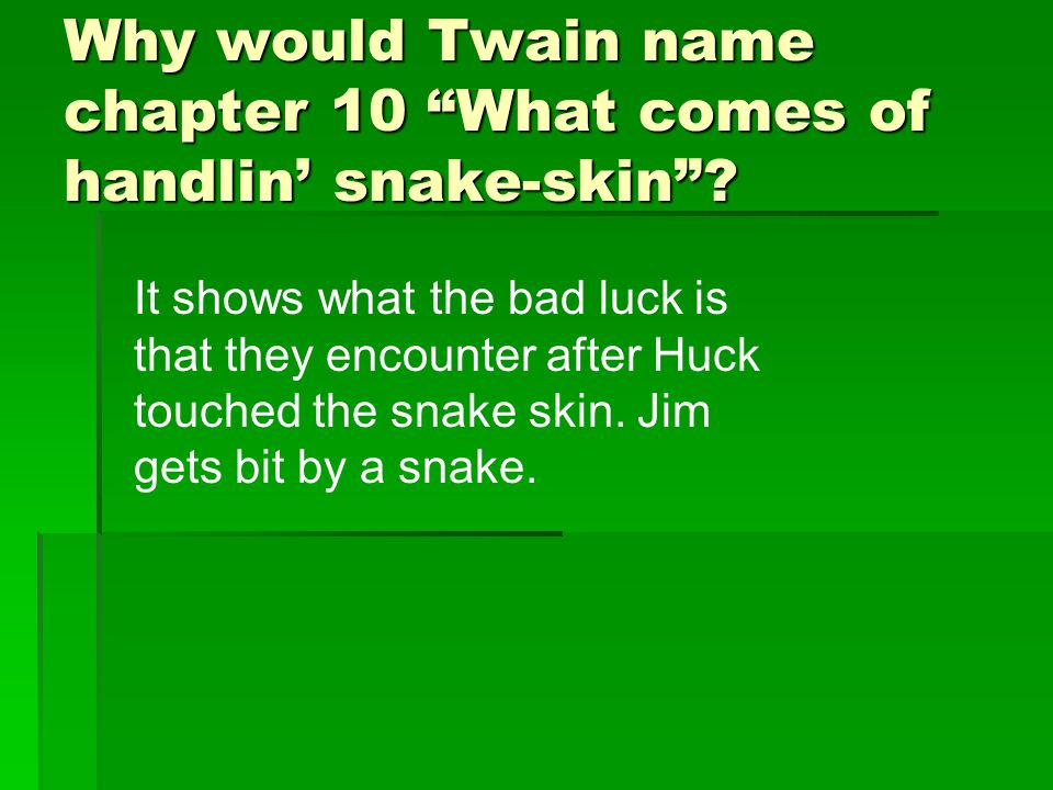 Why would Twain name chapter 10 What comes of handlin' snake-skin