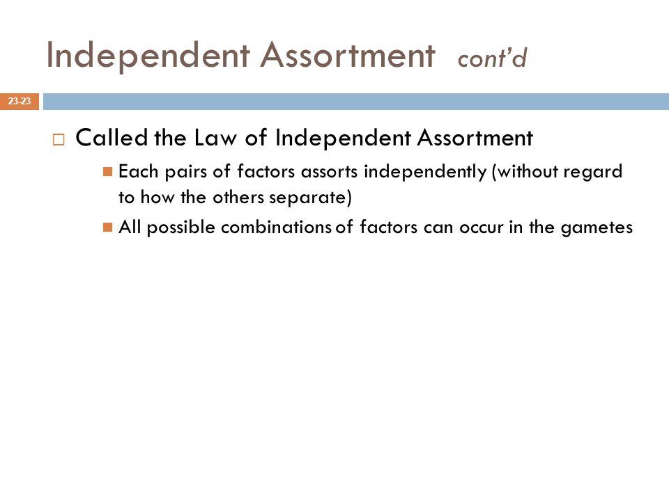 Independent Assortment cont'd