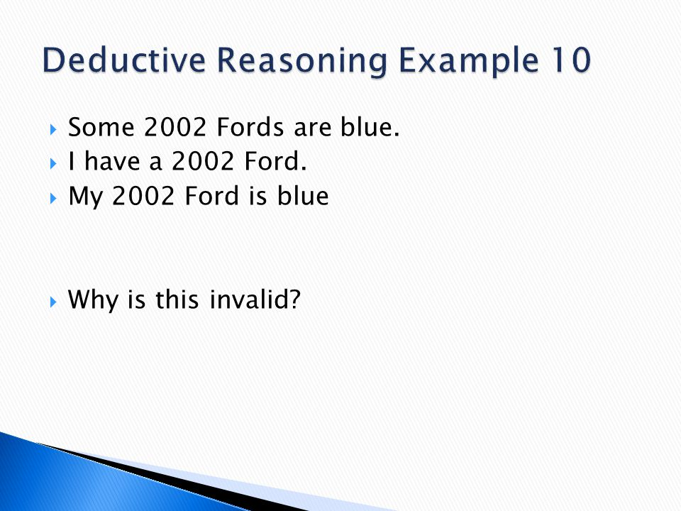 Deductive Reasoning Example 10