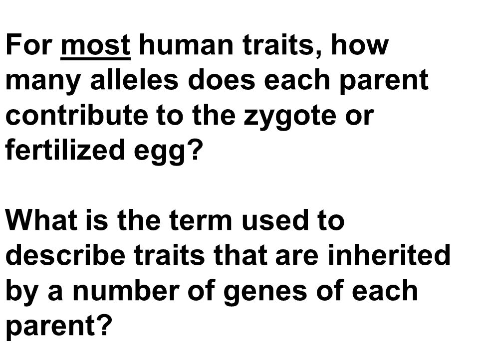 For most human traits, how many alleles does each parent contribute to the zygote or fertilized egg