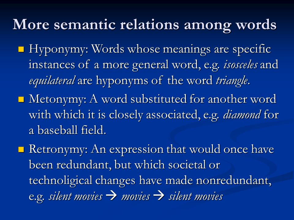 More semantic relations among words