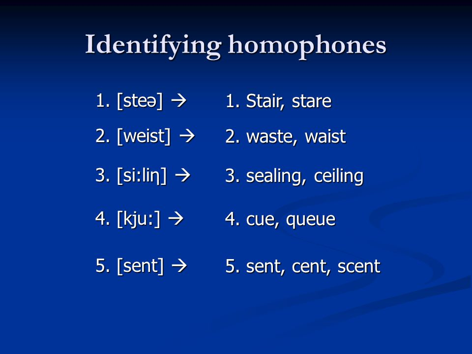 Identifying homophones
