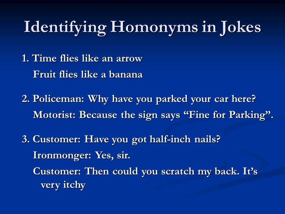 Identifying Homonyms in Jokes