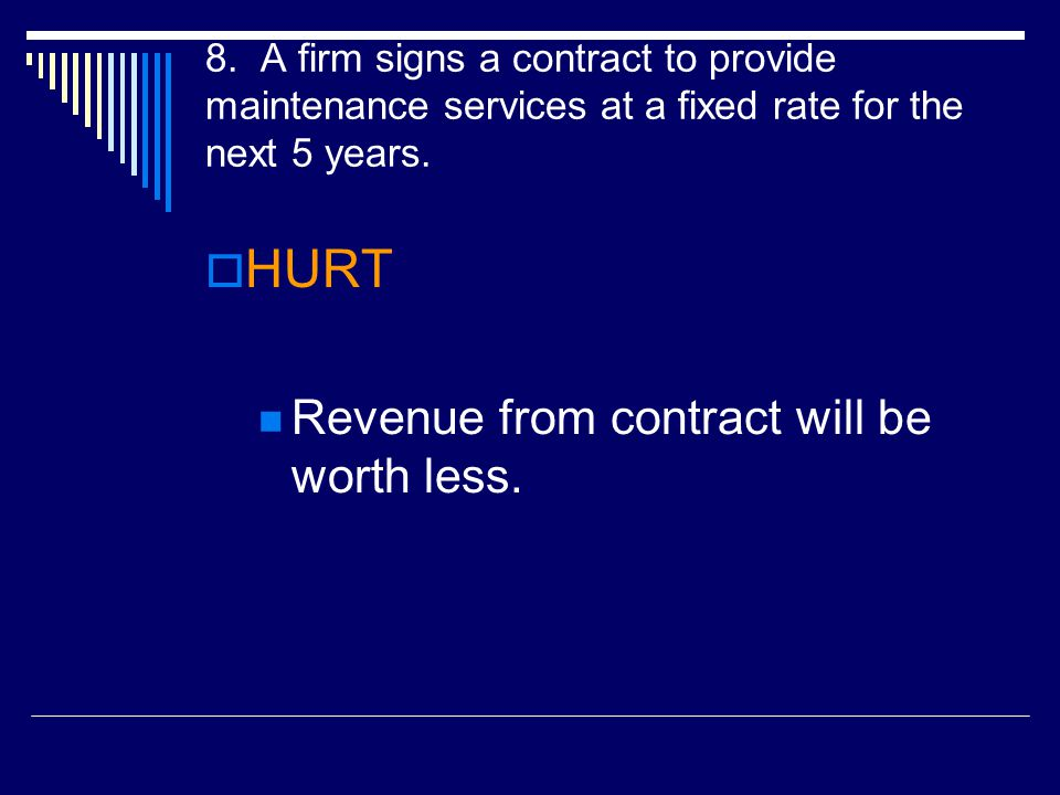 HURT Revenue from contract will be worth less.