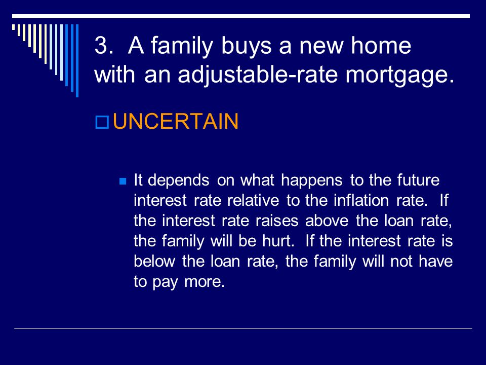 3. A family buys a new home with an adjustable-rate mortgage.
