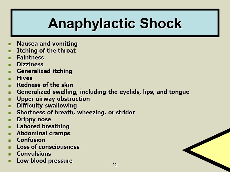 Anaphylactic Shock Nausea and vomiting Itching of the throat Faintness