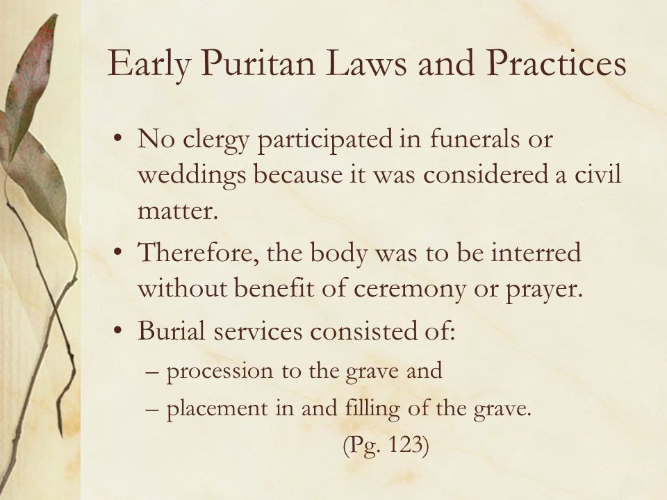 Early Puritan Laws and Practices
